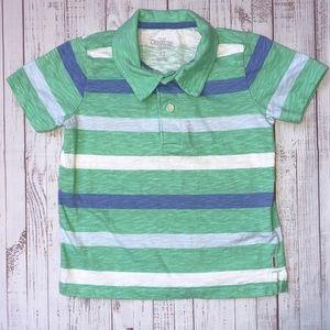OshKosh Polo Green-Blue-White Striped 4T
